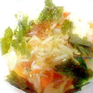 カット野菜で手軽に ヘルシー野菜丼。