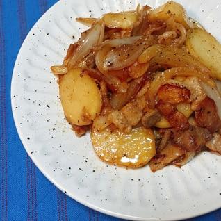 豚バラ肉とポテトのバター醤油炒め