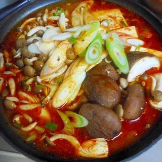 鶏肉と肉団子のピリ辛鍋