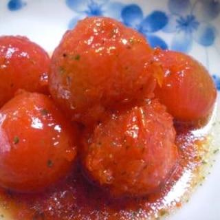 湯むきした皮も使うよ☆プチトマトのはちみつマリネ