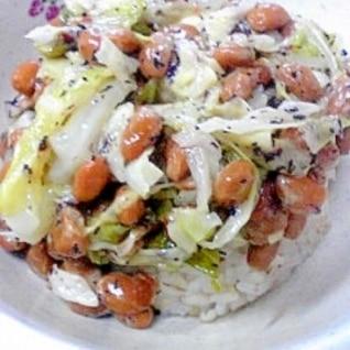 納豆の食べ方-キャベツ&ゆかり♪