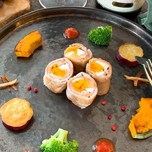 観音池ポークの卵巻き~サルティンボッカ風~