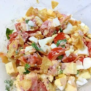 残ったポテチやクラッカーで☆簡単トマトサラダ