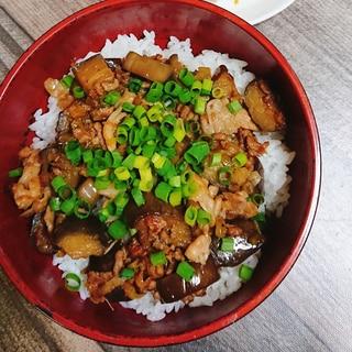 那須と豚挽き肉で甘辛丼