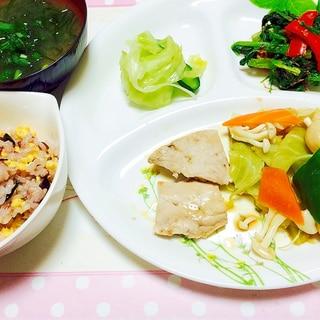 ダイエットに!本まぐろと野菜蒸しランチ