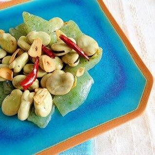 そら豆とこんにゃくの簡単ペペロンチーノ