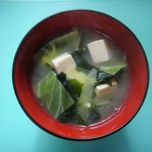 キャベツ豆腐わかめ味噌汁