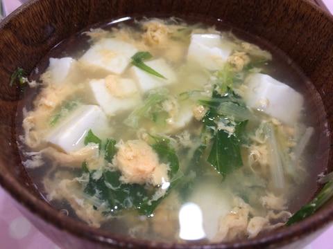 すぐできる!水菜と豆腐のかきたま汁