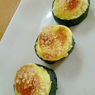 お弁当にぴったり☆ズッキーニのマヨチーズ焼き