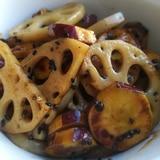 蓮根とさつま芋の甘辛炒め