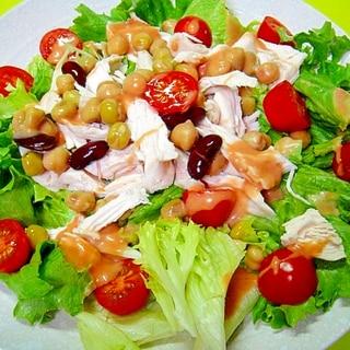 鶏むね肉とミックスビーンズレタスのサラダ