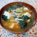 ほうれん草と豆腐ときのこの味噌汁