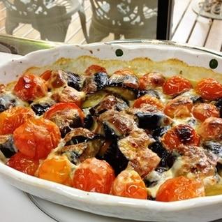 オーブントースターでミニトマトと茄子のチーズ焼き