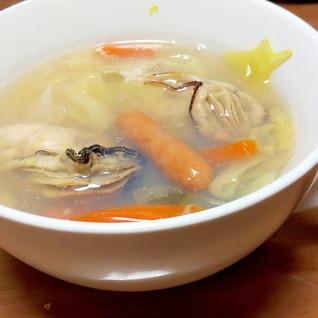 牡蠣とウインナーのスープ