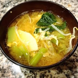 小松菜*もやし*たけのこ*卵のお味噌汁
