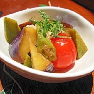 簡単☆夏野菜の焼きびたし☆めんつゆとお酢だけで