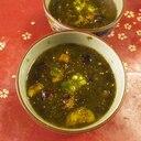 生青のり揚げ茄子の味噌汁