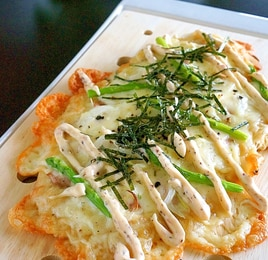 【お手伝いレシピ】しそ梅風味の照り焼きチキンピザ