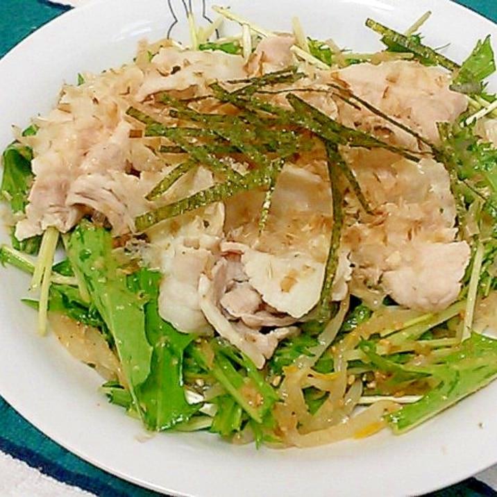 簡単ヘルシー♪水菜ともやしのゴマしゃぶサラダ
