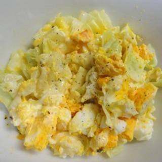 レンチン♪ゆで卵の簡単キャベツサラダ