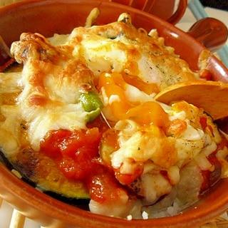 焼き野菜と半熟卵のトマトソースドリア