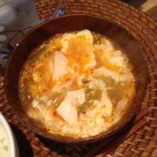 ふわっふわ卵のチゲスープ♡