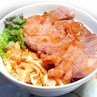 豚ロース切り身でご馳走!豚ロースの味噌トンテキ丼♪