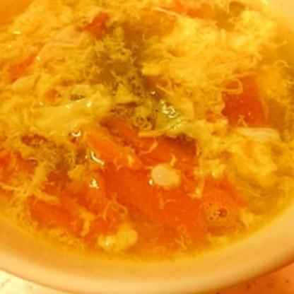 にんじん&ピーマン&卵のコンソメスープ