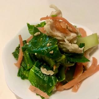 レンジで簡単!小松菜とサラダチキンのナムル