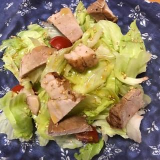 レタスと豚もも肉のチャーシュー煮のサラダ