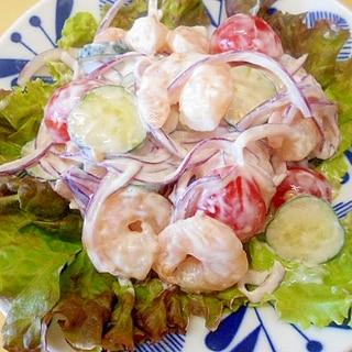 蒸し海老と紫玉葱・胡瓜・ミニトマトのサラダ
