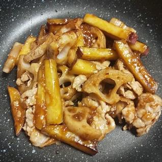 さつま芋と蓮根と豚肉の甘酢炒め
