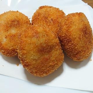 里芋の親芋でベーコンチーズコロッケ