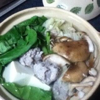 小松菜入り、イワシのつみれ鍋