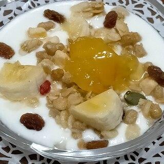 フレグラとバナナとレーズン*ジャムのヨーグルト☆♪