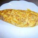 オムレツ!肉味噌を使って。