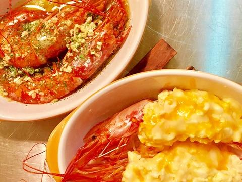 2種の有頭海老料理