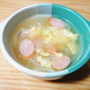 卵と玉ねぎとウインナーのコンソメスープ