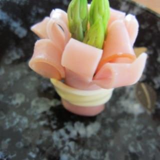 お弁当に!アスパラ&ハムのお花