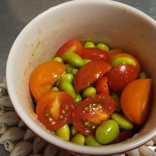 枝豆とトマトのペペロンチーノ