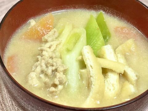 豆乳味噌汁♩鶏ひき肉入りで満足度UP☆