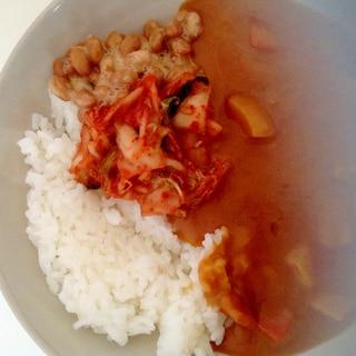 キムチ納豆カレーライス