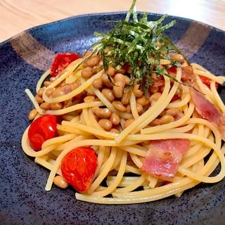 トマトとベーコンの納豆パスタ