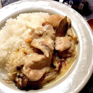 ◤電鍋レシピ◢ 鶏肉ときのこのクリーム煮込み