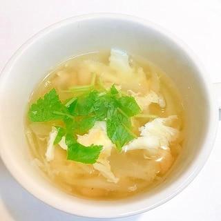 玉ねぎと大豆の♪お手軽コンソメ卵スープ
