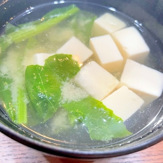 豆腐と菜の花の味噌汁