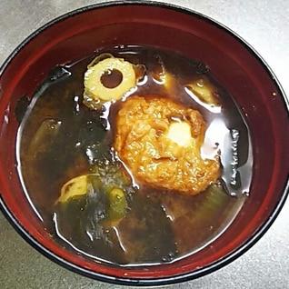 うずら巻きと焼きちくわのお味噌汁