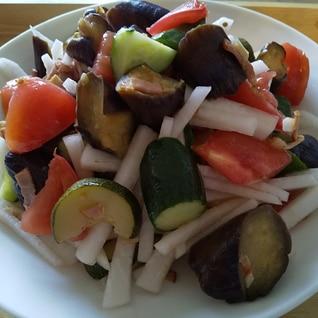 ニンニクたっぷり!夏野菜のおかずサラダ