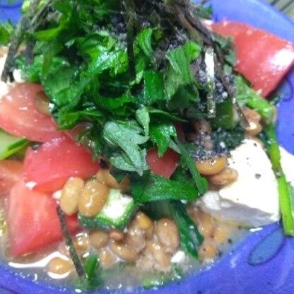 納豆大好きですが、カンタンなのに美味しくてヘルシー♪最高ですね(*' ▽'*)青じそ沢山のせました。暑い日に助かるレシピ感謝です(m*_ _)m♡