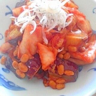 納豆の食べ方-さつまいも&キムチ♪